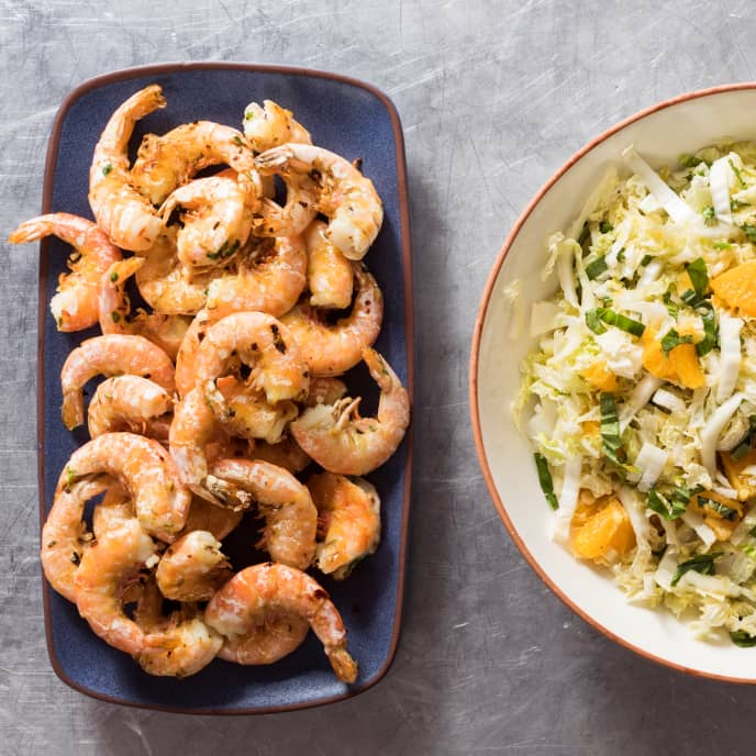 Garlicky Roasted Shrimp with Napa Cabbage and Orange Salad
