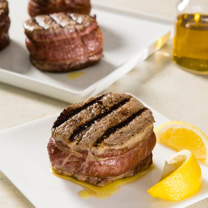 Gas-Grilled Filets Mignons with Olive Oil and Lemon