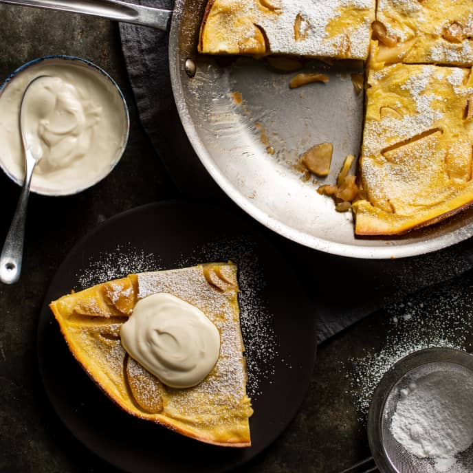 German Apple Pancake with Brown Sugar Sour Cream