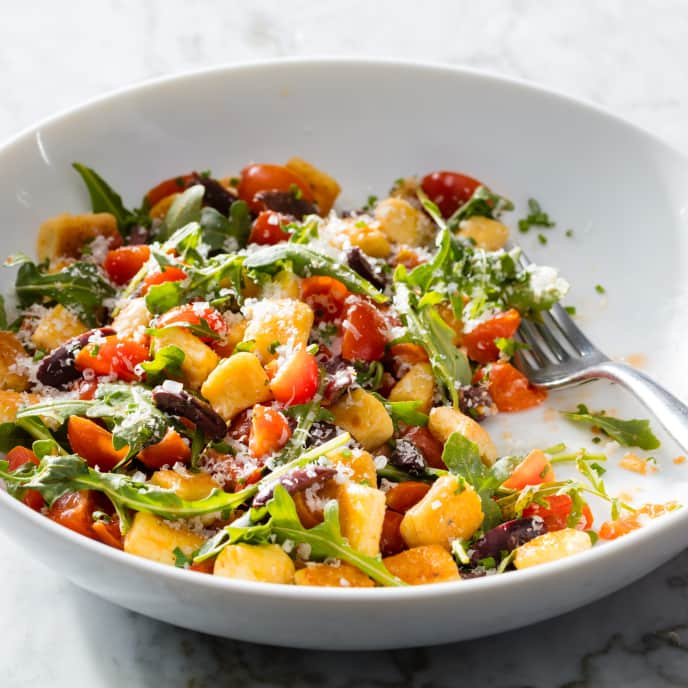 Gnocchi à la Parisienne with Arugula, Tomatoes, and Olives