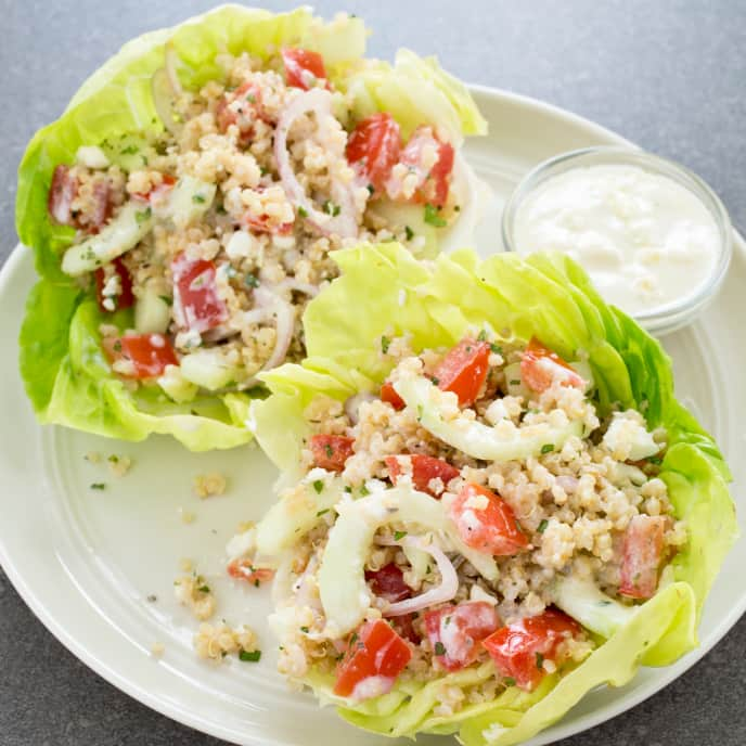 Slow-Cooker Greek Quinoa and Vegetable Lettuce Cups