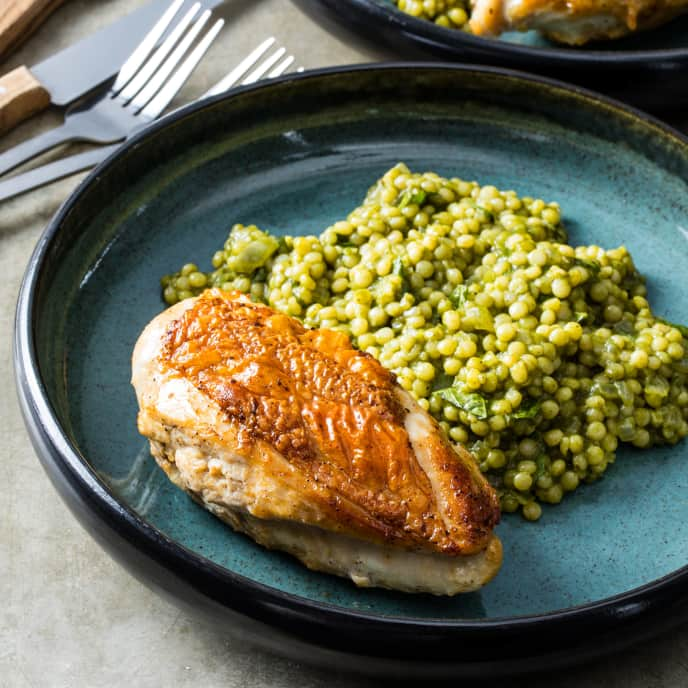 Roasted Chicken Breasts with Green Israeli Couscous