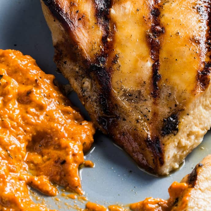 Grilled Boneless, Skinless Chicken Breast with Red-Pepper Almond Sauce for Two