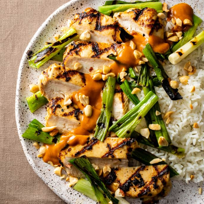 Grilled Chicken with Charred Scallions and Peanut Sauce