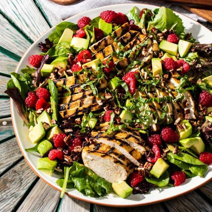Grilled Dijon Chicken Salad with Raspberries and Avocado