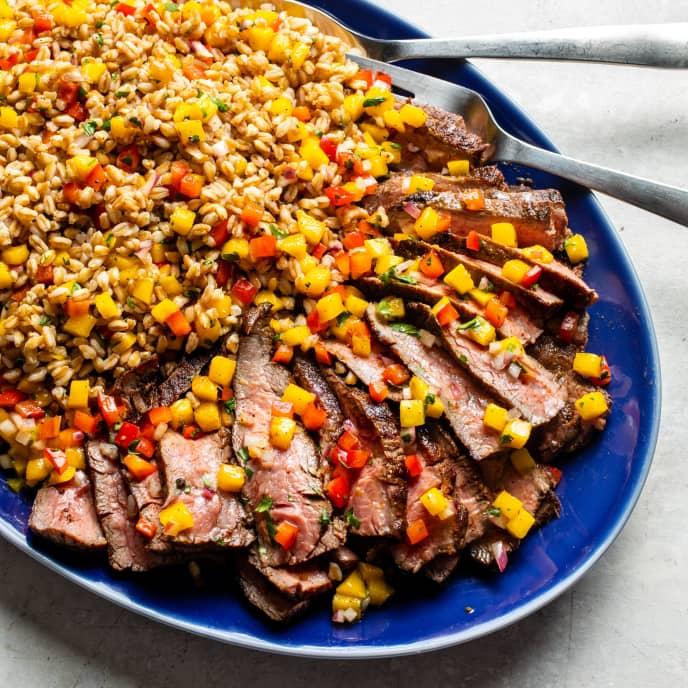 Flank Steak with Farro and Mango Salsa