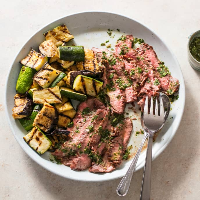 Grilled Flank Steak with Vegetables and Salsa Verde