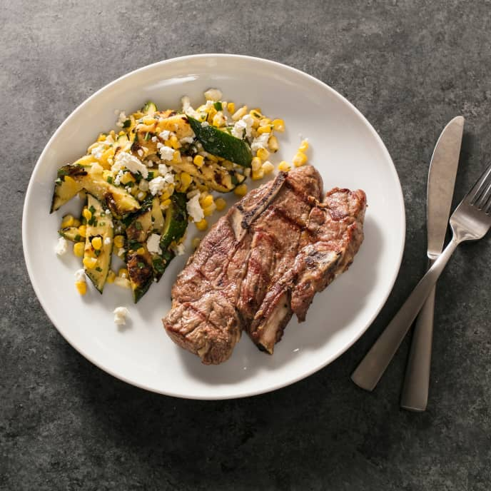 Grilled Lamb Shoulder Chops with Zucchini and Corn Salad