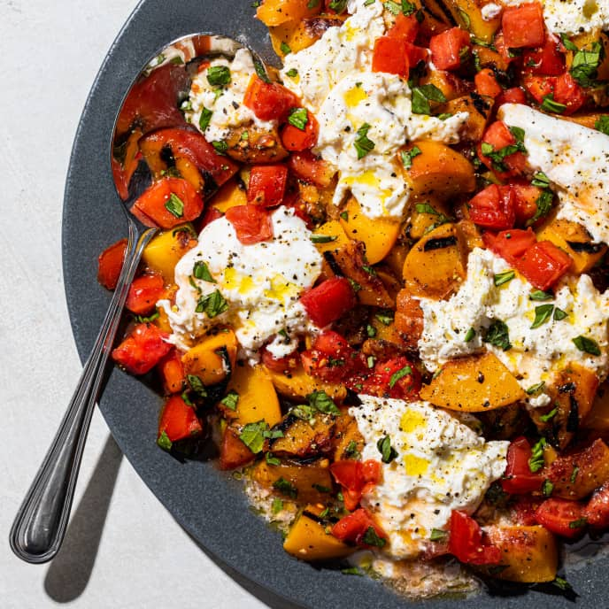 Grilled Peach and Tomato Salad with Burrata and Basil