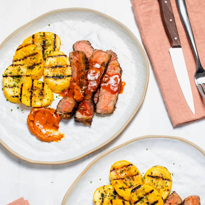 Grilled Rib-Eye Steaks with Summer Squash and Smoky Paprika Lemon Butter