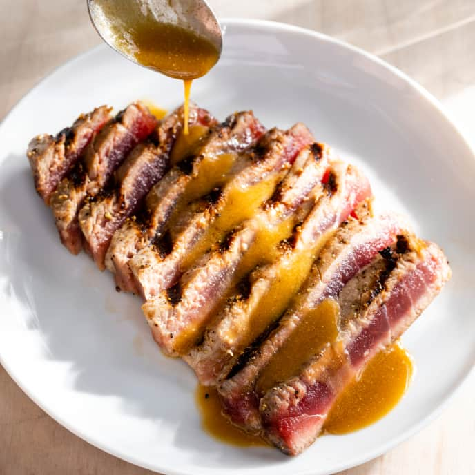 Grilled Tuna Steaks with Soy Vinaigrette