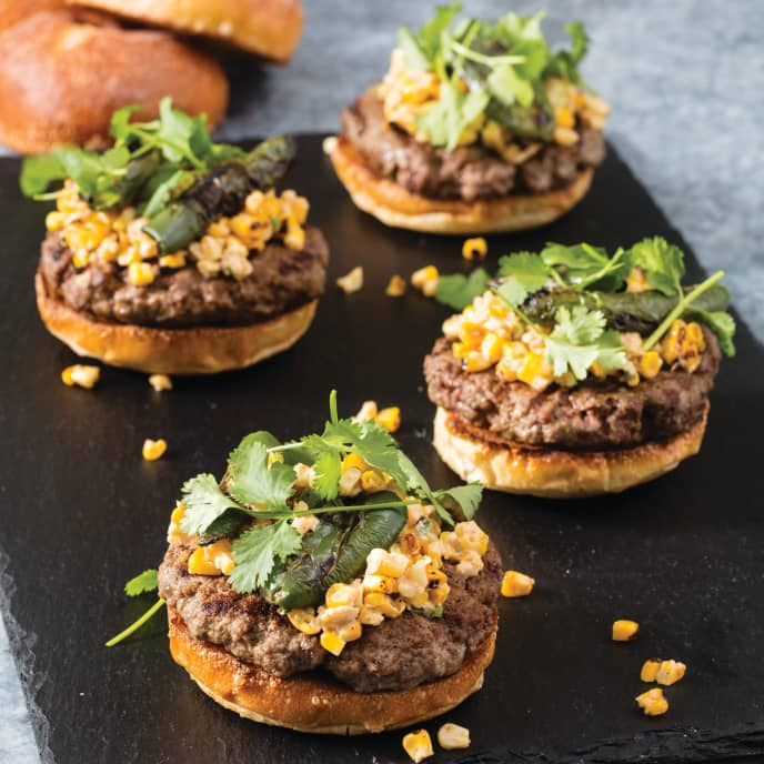 Grilled Bison Burgers with Mexican Corn Salad