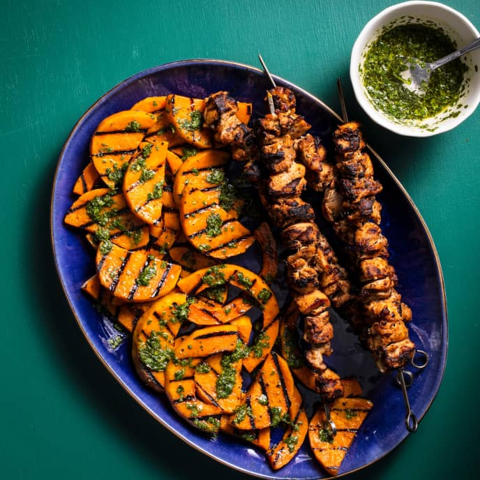 Grilled Chicken Kebabs with Butternut Squash and Cilantro Vinaigrette