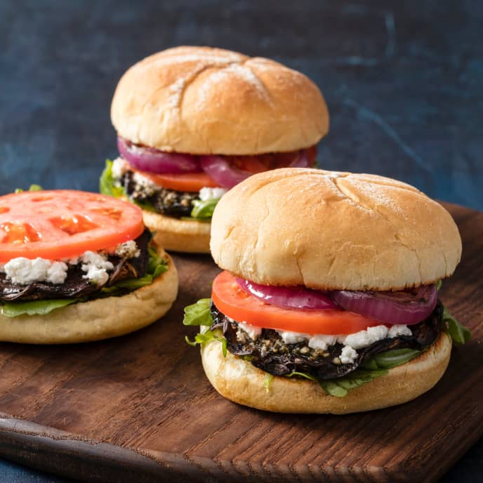 Grilled Portobello Burgers with Goat Cheese and Arugula