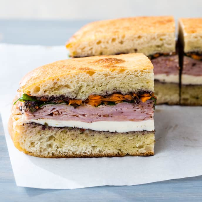 Ham Picnic Sandwich with Olive Spread