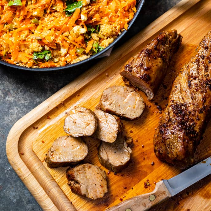 Harissa-Glazed Pork Tenderloin with Couscous Salad