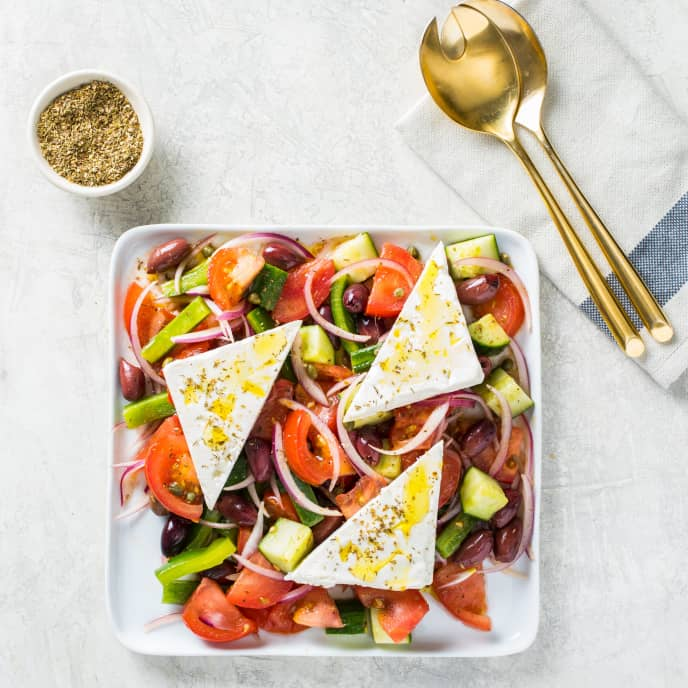 Horiatiki Salata (Hearty Greek Salad) for Two