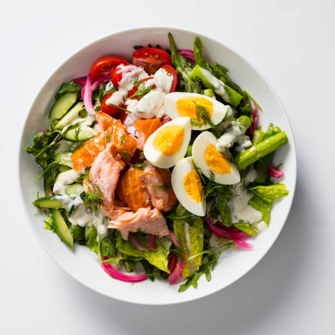 Hearty Green Salad with Hot-Smoked Salmon