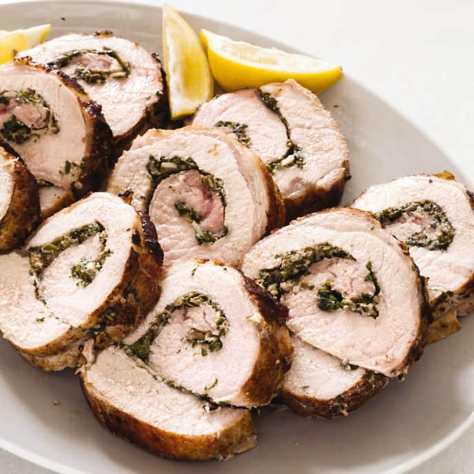 Cast Iron Herb-Stuffed Boneless Pork Loin