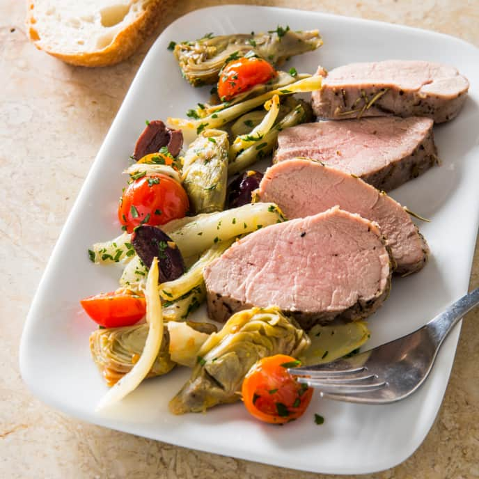 Herb-Rubbed Pork Tenderloin with Fennel and Artichokes for Two