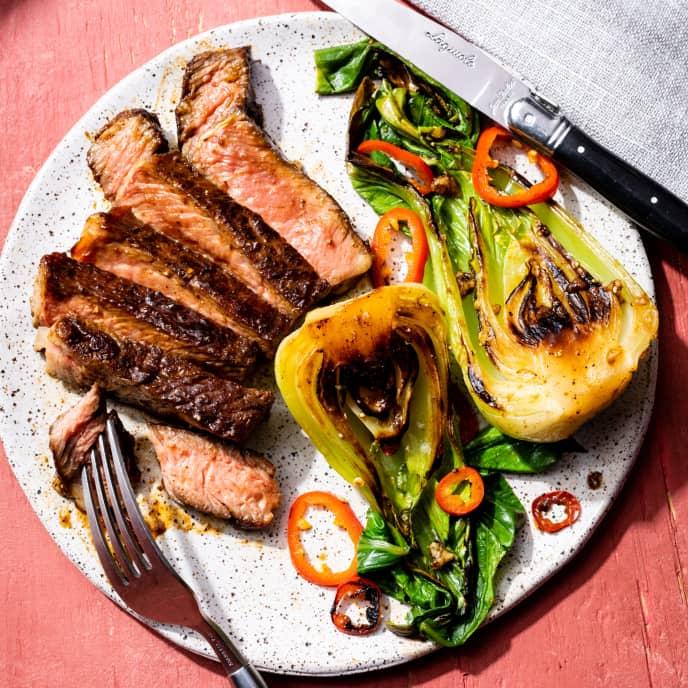 Hoisin-Glazed Rib-Eye Steaks with Baby Bok Choy