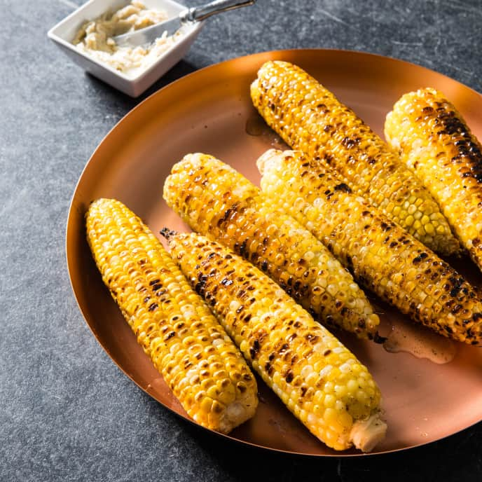 Husk-Grilled Corn with Seasoned Butter