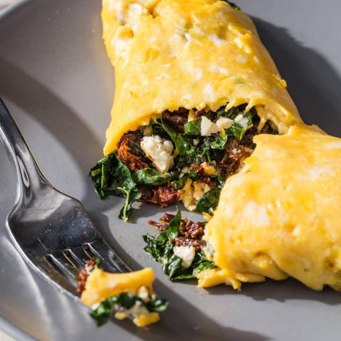 Kale, Feta, and Sun-Dried Tomato Omelet