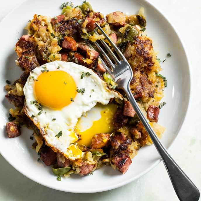 Kielbasa Hash with Potatoes and Fried Eggs
