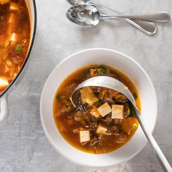 Kimchi, Beef, and Tofu Soup