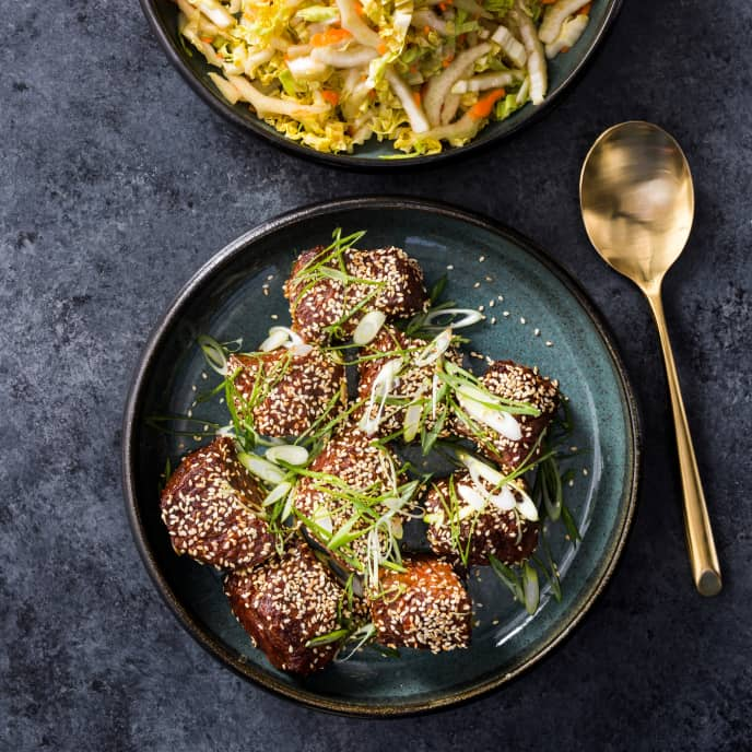 Air-Fryer Korean Steak Tips with Napa Cabbage Slaw