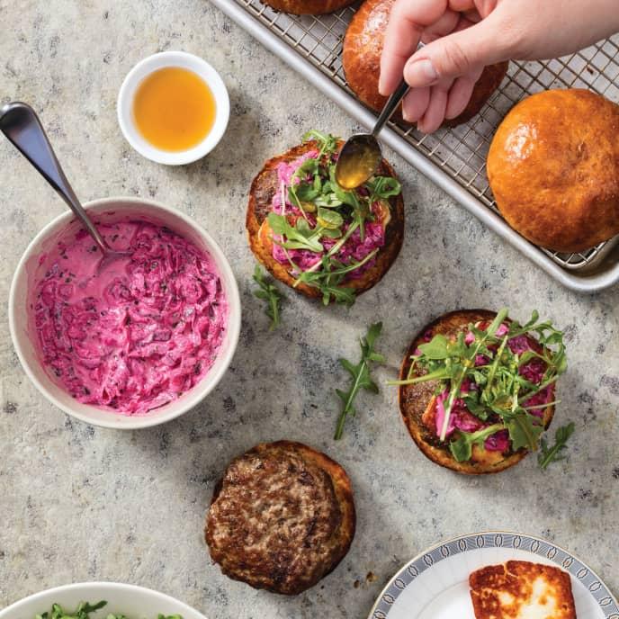 Lamb Burgers with Halloumi and Beet Tzatziki