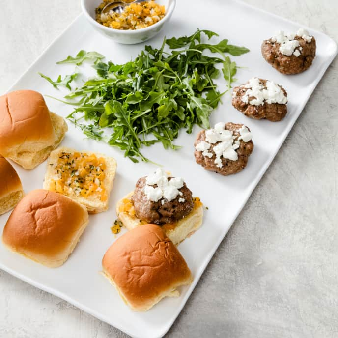 Air-Fryer Lamb Sliders with Apricot Chutney