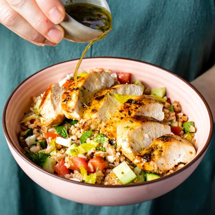 Lemon-Oregano Chicken with Farro Salad