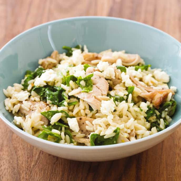 Slow-Cooker Lemony Chicken and Rice With Spinach and Feta