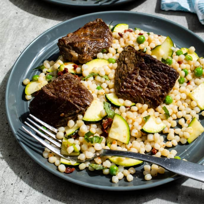 Lemony Steak Tips with Zucchini and Sun-Dried Tomato Couscous