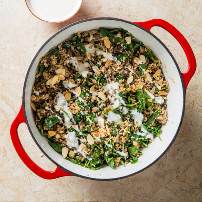 One-Pot Lentils and Rice with Yogurt Sauce and Crunchy Toasted Almonds