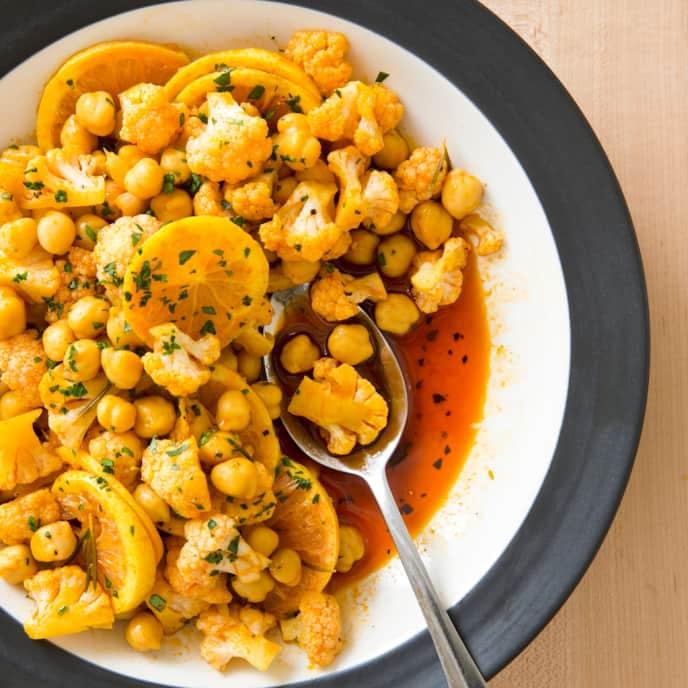 Vegan Marinated Cauliflower with Chickpeas and Saffron