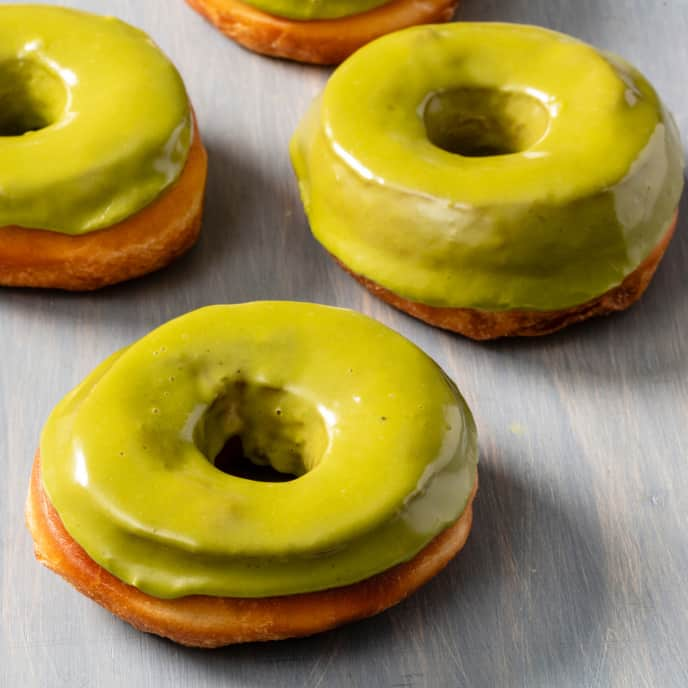 Yeasted Doughnuts with Matcha Frosting