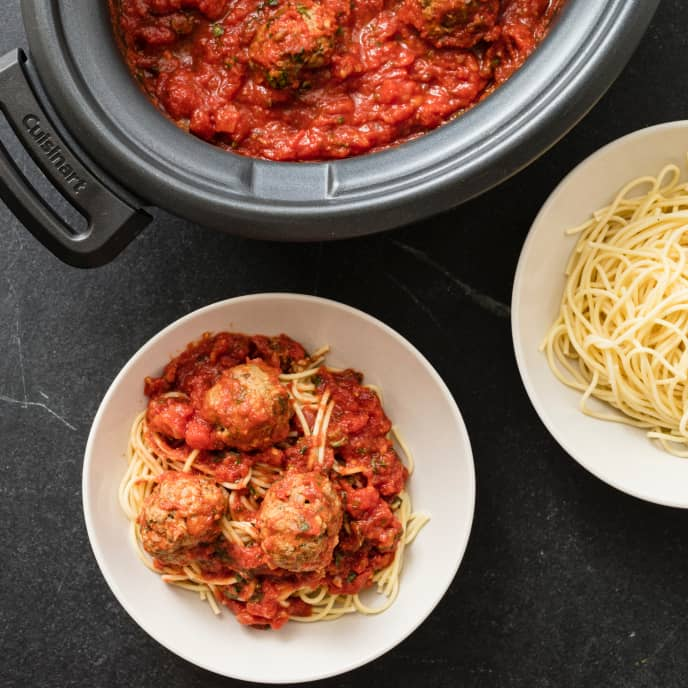 Slow-Cooker Meatballs and Marinara