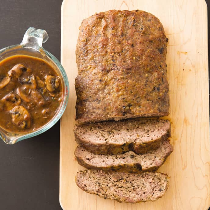 Cast Iron Free-Form Meatloaf with Mushroom Gravy