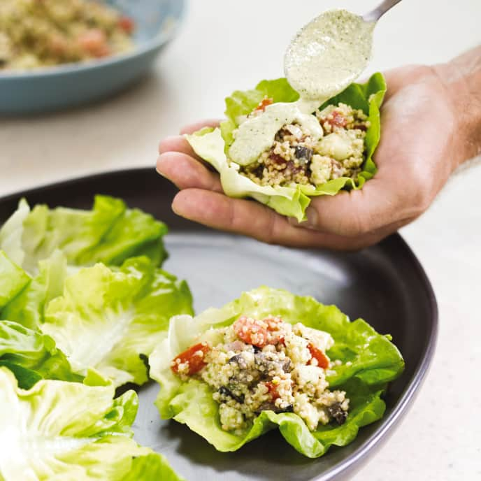Mediterranean Lettuce Cups with Quinoa, Olives, and Feta