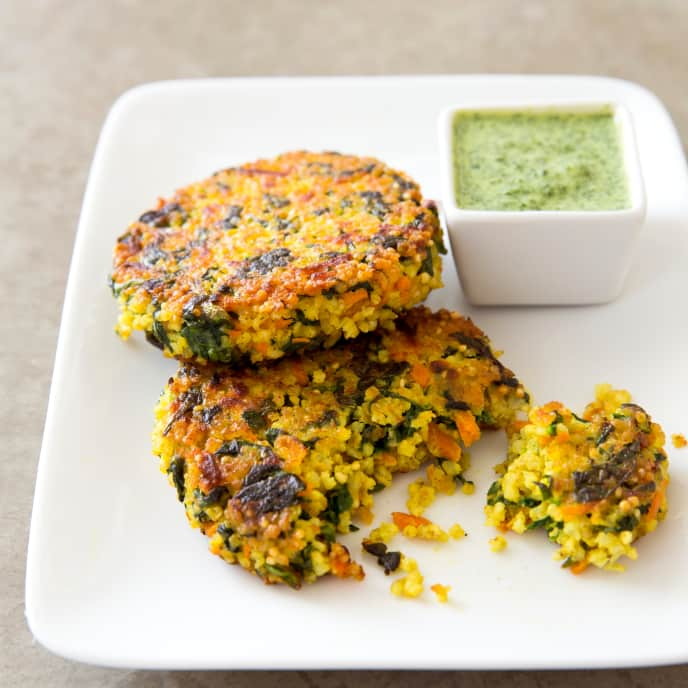 Millet Cakes with Spinach and Carrots