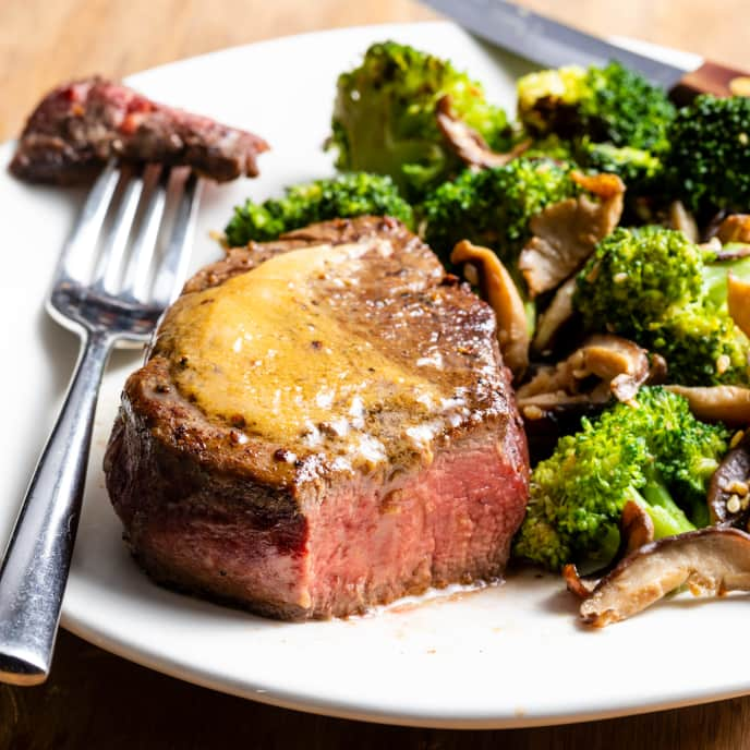 Miso Butter Steaks with Shiitakes and Broccoli