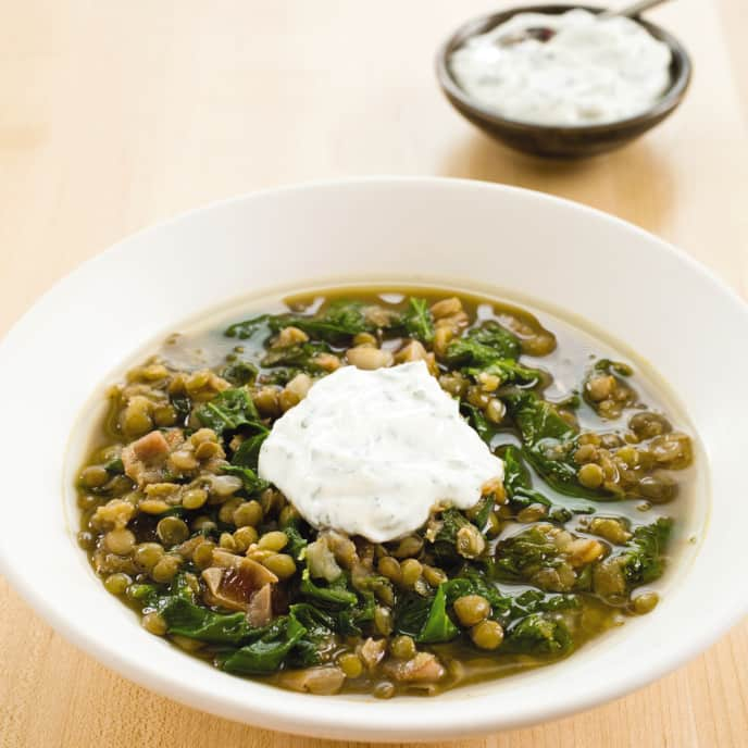 Slow-Cooker Moroccan Lentil Soup With Mustard Greens