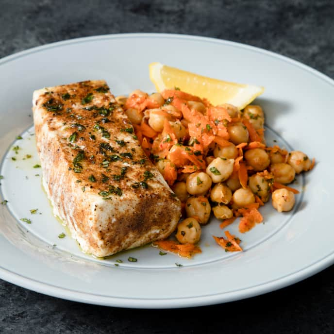 Air-Fryer Moroccan Spiced Halibut with Chickpea Salad
