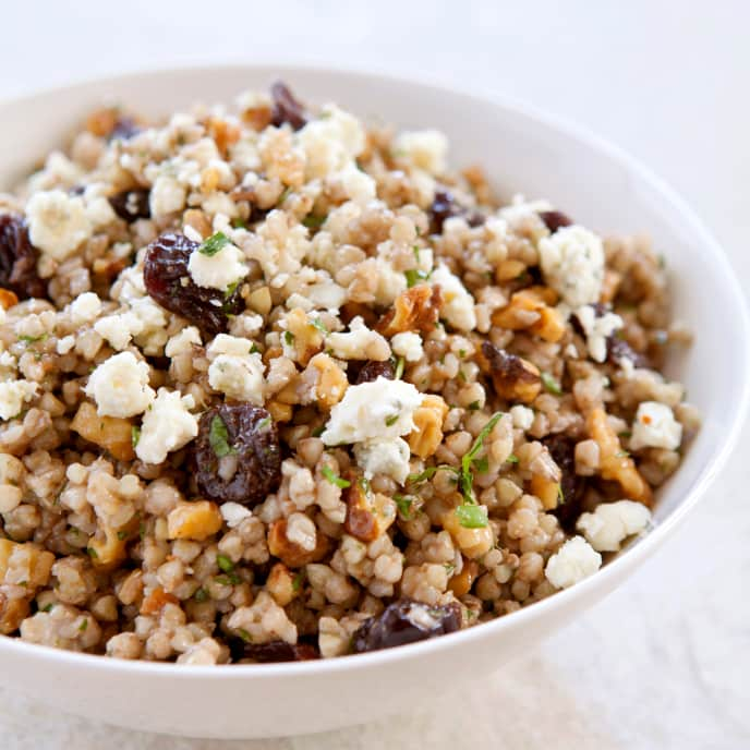 Gluten-Free Oat Berry Pilaf with Walnuts and Gorgonzola