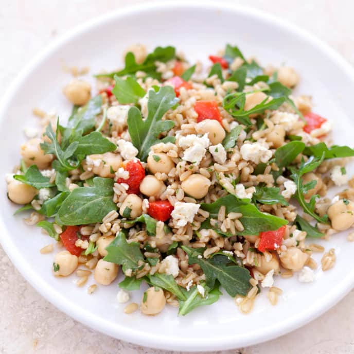 Gluten-Free Oat Berry, Chickpea, and Arugula Salad