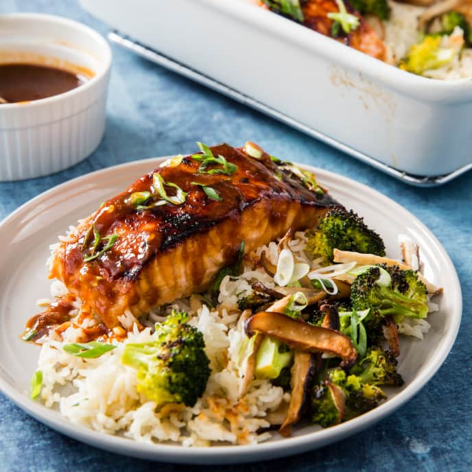 One-Pan Salmon with Rice, Broccoli, and Shiitake Mushrooms