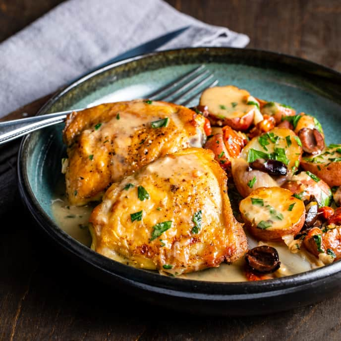 One-Pan Braised Chicken Thighs with Potatoes, Shallots, and Olives