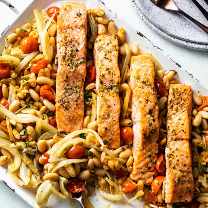 One-Pan Roasted Salmon with White Beans, Fennel, and Tomatoes
